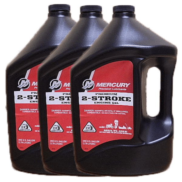Genuine Mercury Premium 2-Cycle Outboard Oil 1 Gallon 92-858022K01 (3 Pack)