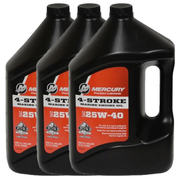Genuine Mercury25W40 4-Cycle Oil 1 Gallon 92-8M0078628 (3 Pack)